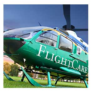 FlightCare helicopter on ground